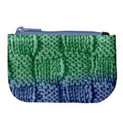 Knitted Wool Square Blue Green Large Coin Purse by snowwhitegirl