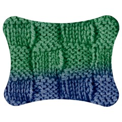 Knitted Wool Square Blue Green Jigsaw Puzzle Photo Stand (bow) by snowwhitegirl