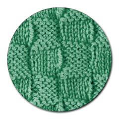 Knitted Wool Square Green Round Mousepads by snowwhitegirl
