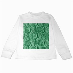 Knitted Wool Square Green Kids Long Sleeve T Shirts