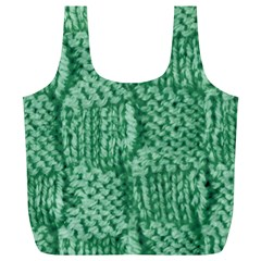 Knitted Wool Square Green Full Print Recycle Bags (l)  by snowwhitegirl