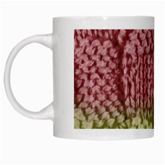 Knitted Wool Square Pink Green White Mugs by snowwhitegirl