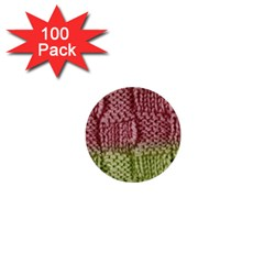 Knitted Wool Square Pink Green 1  Mini Buttons (100 Pack)  by snowwhitegirl