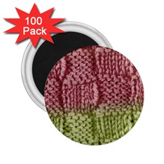 Knitted Wool Square Pink Green 2 25  Magnets (100 Pack)  by snowwhitegirl