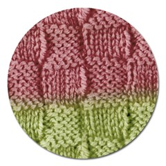 Knitted Wool Square Pink Green Magnet 5  (round) by snowwhitegirl