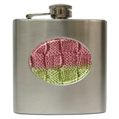 Knitted Wool Square Pink Green Hip Flask (6 Oz) by snowwhitegirl
