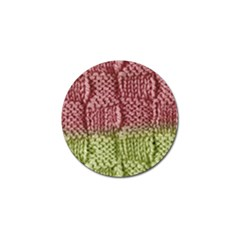 Knitted Wool Square Pink Green Golf Ball Marker by snowwhitegirl