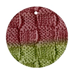 Knitted Wool Square Pink Green Round Ornament (two Sides) by snowwhitegirl