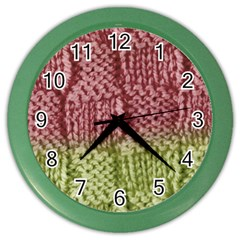 Knitted Wool Square Pink Green Color Wall Clocks by snowwhitegirl