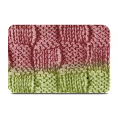 Knitted Wool Square Pink Green Plate Mats by snowwhitegirl
