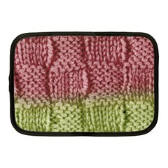 Knitted Wool Square Pink Green Netbook Case (medium)  by snowwhitegirl