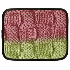 Knitted Wool Square Pink Green Netbook Case (xl)