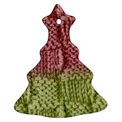 Knitted Wool Square Pink Green Ornament (christmas Tree)  by snowwhitegirl