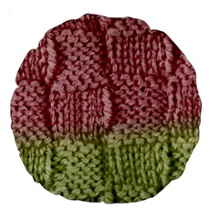 Knitted Wool Square Pink Green Large 18  Premium Round Cushions