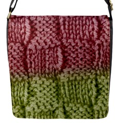 Knitted Wool Square Pink Green Flap Messenger Bag (s) by snowwhitegirl