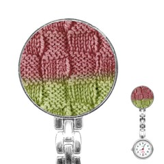 Knitted Wool Square Pink Green Stainless Steel Nurses Watch by snowwhitegirl