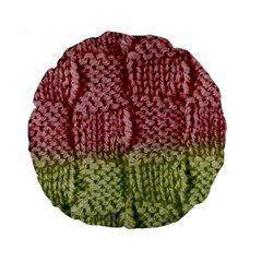 Knitted Wool Square Pink Green Standard 15  Premium Flano Round Cushions by snowwhitegirl