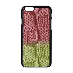 Knitted Wool Square Pink Green Apple Iphone 6/6s Black Enamel Case by snowwhitegirl