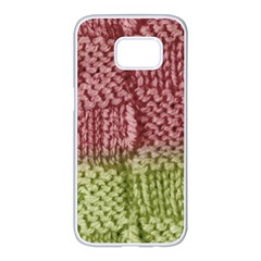 Knitted Wool Square Pink Green Samsung Galaxy S7 Edge White Seamless Case by snowwhitegirl
