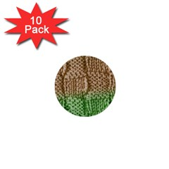 Knitted Wool Square Beige Green 1  Mini Buttons (10 Pack)  by snowwhitegirl
