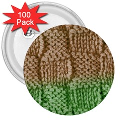 Knitted Wool Square Beige Green 3  Buttons (100 Pack)  by snowwhitegirl