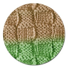 Knitted Wool Square Beige Green Magnet 5  (round) by snowwhitegirl