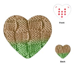 Knitted Wool Square Beige Green Playing Cards (heart)  by snowwhitegirl