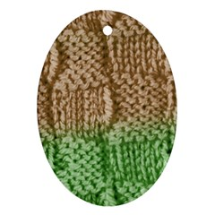 Knitted Wool Square Beige Green Oval Ornament (two Sides)
