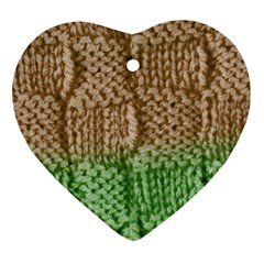 Knitted Wool Square Beige Green Heart Ornament (two Sides) by snowwhitegirl