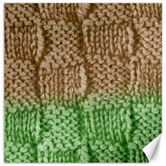 Knitted Wool Square Beige Green Canvas 12  X 12   by snowwhitegirl