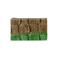 Knitted Wool Square Beige Green Cosmetic Bag (small)  by snowwhitegirl