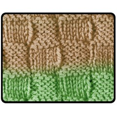 Knitted Wool Square Beige Green Fleece Blanket (medium)  by snowwhitegirl