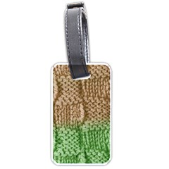 Knitted Wool Square Beige Green Luggage Tags (one Side)  by snowwhitegirl