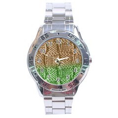 Knitted Wool Square Beige Green Stainless Steel Analogue Watch by snowwhitegirl