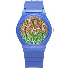 Knitted Wool Square Beige Green Round Plastic Sport Watch (s) by snowwhitegirl