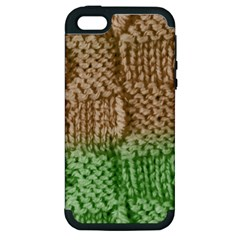 Knitted Wool Square Beige Green Apple Iphone 5 Hardshell Case (pc+silicone) by snowwhitegirl
