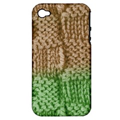 Knitted Wool Square Beige Green Apple Iphone 4/4s Hardshell Case (pc+silicone) by snowwhitegirl