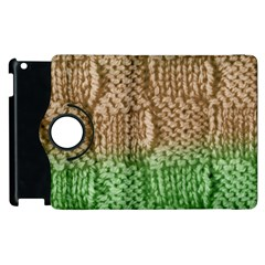 Knitted Wool Square Beige Green Apple Ipad 3/4 Flip 360 Case