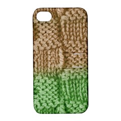 Knitted Wool Square Beige Green Apple Iphone 4/4s Hardshell Case With Stand by snowwhitegirl