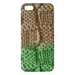 Knitted Wool Square Beige Green Apple Iphone 5 Premium Hardshell Case by snowwhitegirl