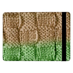 Knitted Wool Square Beige Green Samsung Galaxy Tab Pro 12 2  Flip Case by snowwhitegirl