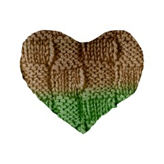 Knitted Wool Square Beige Green Standard 16  Premium Flano Heart Shape Cushions by snowwhitegirl