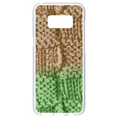 Knitted Wool Square Beige Green Samsung Galaxy S8 White Seamless Case by snowwhitegirl