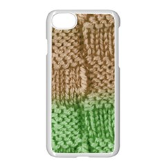 Knitted Wool Square Beige Green Apple Iphone 8 Seamless Case (white) by snowwhitegirl