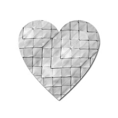 Silver Grid Pattern Heart Magnet by dflcprints