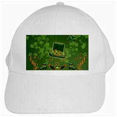 Happy St  Patrick s Day With Clover White Cap by FantasyWorld7