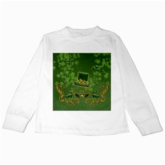 Happy St  Patrick s Day With Clover Kids Long Sleeve T Shirts