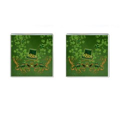 Happy St  Patrick s Day With Clover Cufflinks (square) by FantasyWorld7