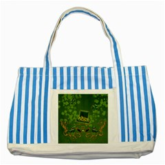 Happy St  Patrick s Day With Clover Striped Blue Tote Bag by FantasyWorld7