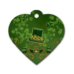 Happy St  Patrick s Day With Clover Dog Tag Heart (two Sides) by FantasyWorld7